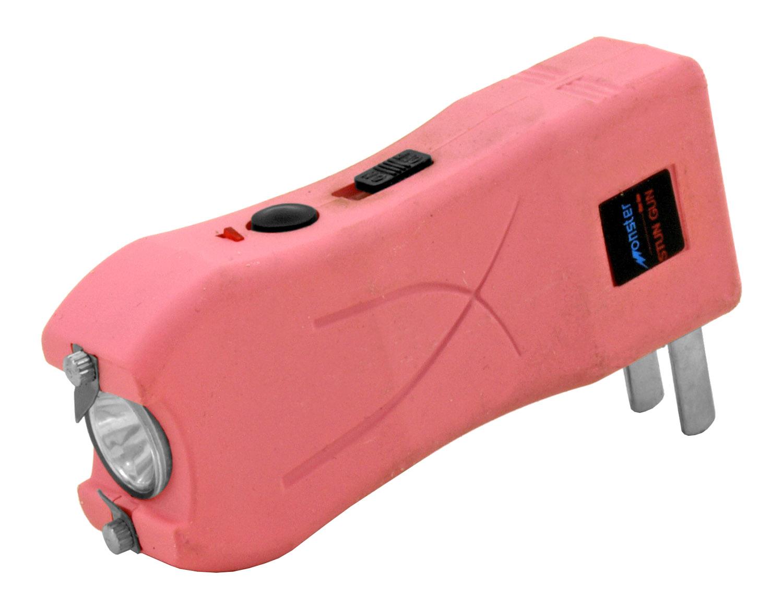 Rechargeable Monster Mini LED Flashlight and Stun Gun - Pink