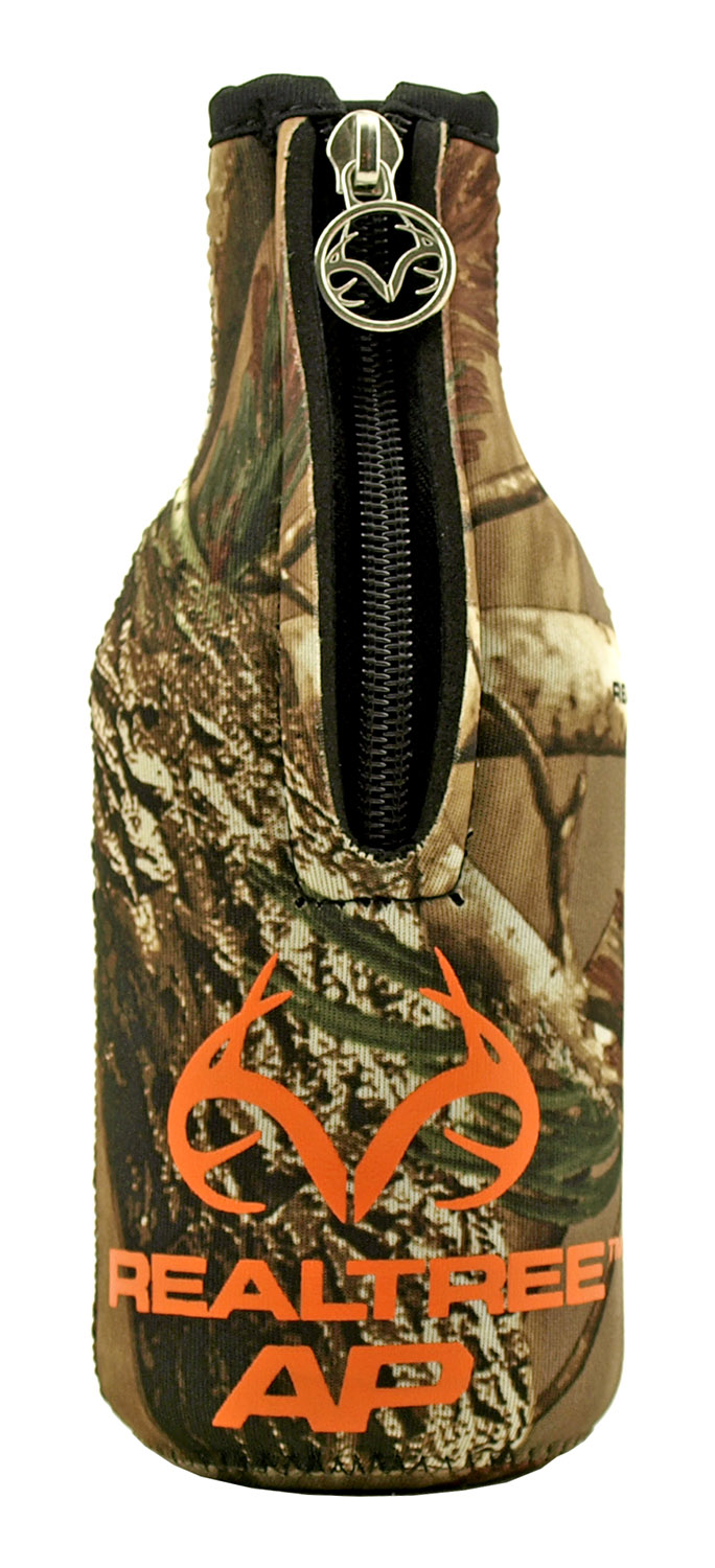 The Classic Glass Beer and Soda Pop Bottle Koozie Cooler with Zipper - Realtree Hunting Camo