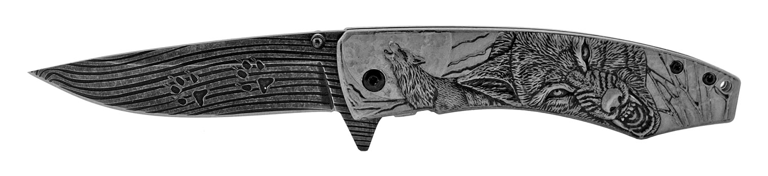 4.75 in Embossed Stainless Steel Drop Point Spring Assisted Folding Pocket Knife - Black Wolf