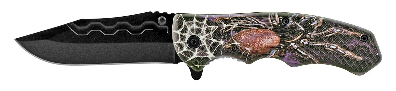 4.75 in Traditional Drop Point Folding Pocket Knife - Arachnophobia