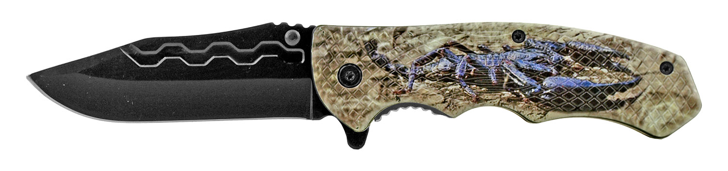 4.75 in Traditional Drop Point Folding Pocket Knife - Scorpion