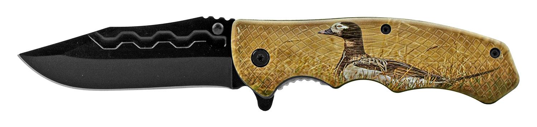 4.75 in Traditional Drop Point Folding Pocket Knife - Mallard Duck