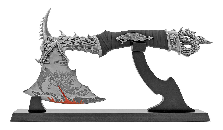 Exercising Demon Dragon Slayer Axe with Display Stand
