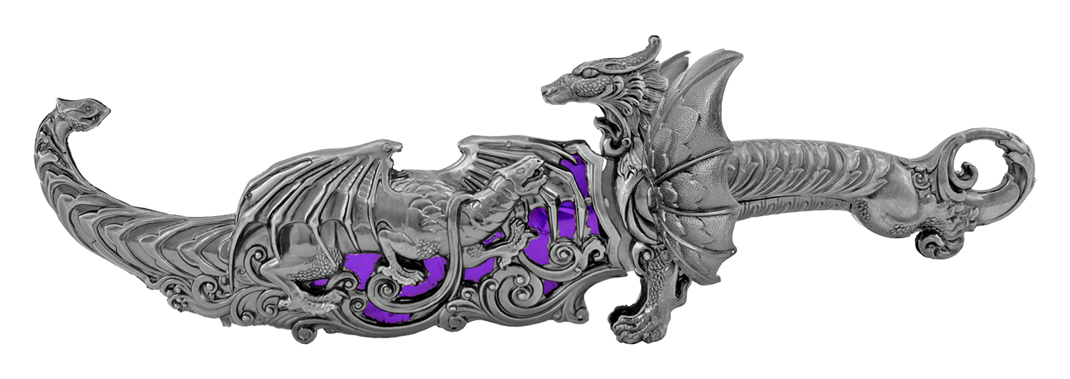 16.13 in Heavy Duty Dragon Display Dagger - Purple