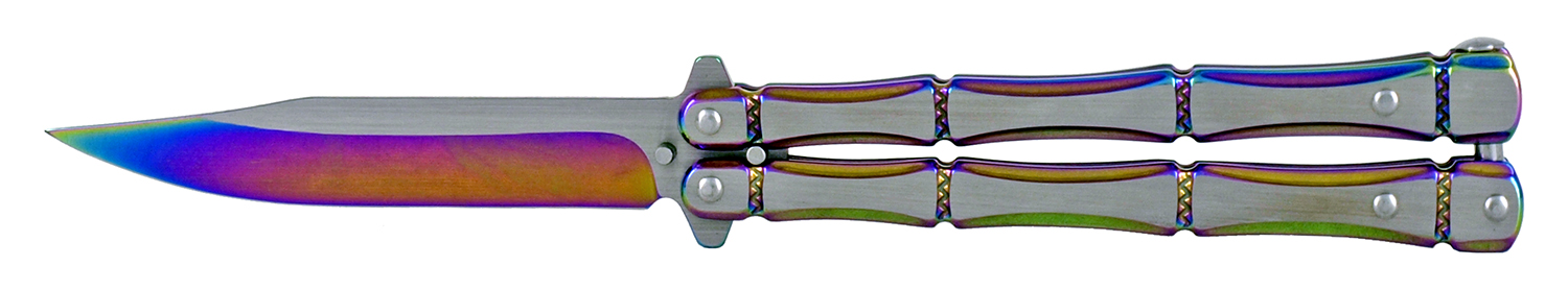 5 in Bonesman Stainless Steel Butterfly Folding Pocket Knife - Titanium