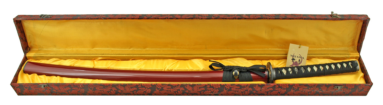 40.5 in Musha 1045 Carbon Steel Practitioners Practice Sword with Storage Display Box - Black and Red