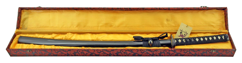 40.5 in Musha 1045 Carbon Steel Practitioners Practice Sword with Storage Display Box - Black