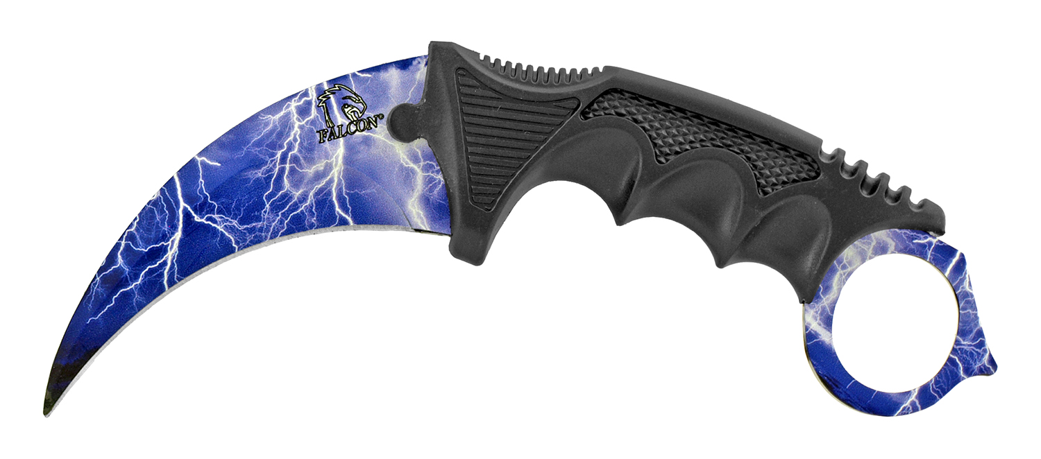 7.5 in Karambit Fighting Claw Knife with Carrying Case - Lighting