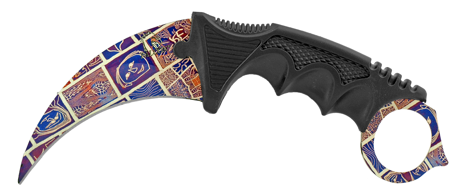 7.5 in Karambit Fighting Claw Knife with Carrying Case - Artistic Design