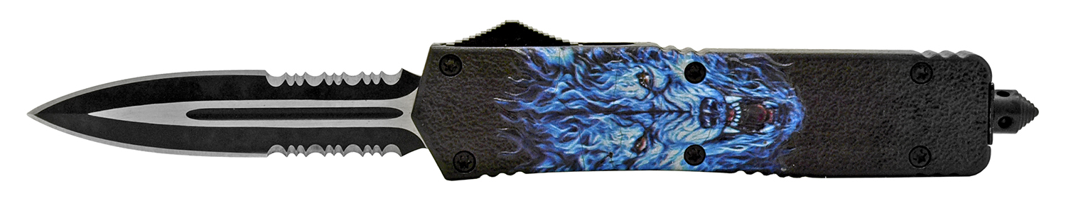 5.5 in High Tension Stainless Steel Out the Front Pocket Knife - Blue