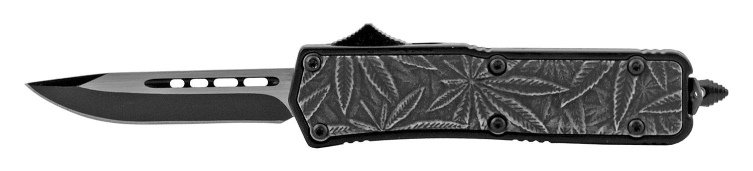 4.25 in Stainless Steel Palm Grip OTF Out the Front Folding Pocket Knife - Black Drop Point