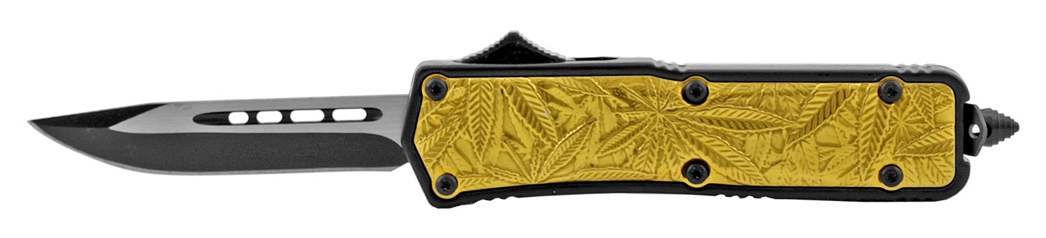 4.25 in Stainless Steel Marijuana Palm Grip OTF Out the Front Folding Pocket Knife - Gold Drop Point