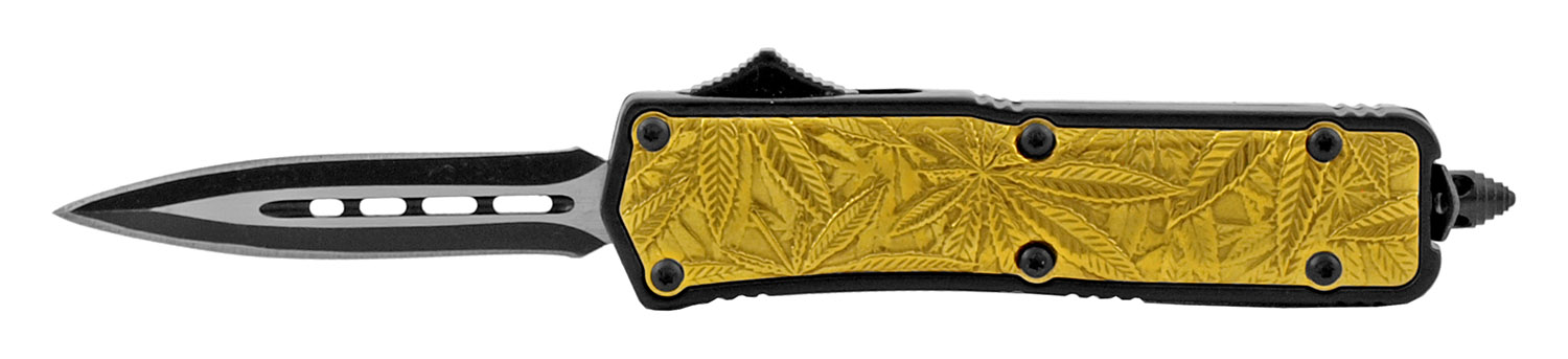 4.25 in Stainless Steel Marijuana Palm Grip OTF Out the Front Folding Pocket Knife - Gold Spear Point