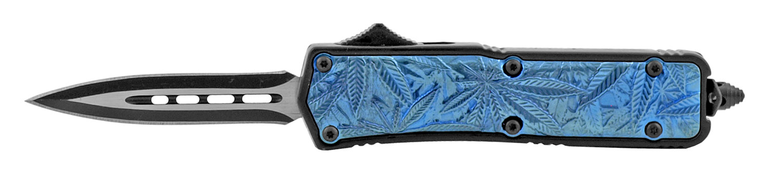 4.25 in Stainless Steel Marijuana Palm Grip OTF Out the Front Folding Pocket Knife - Blue Spear Point