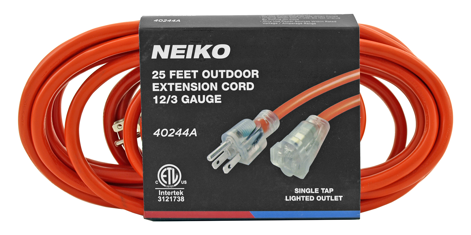 25' Outdoor Extension Cord 12/3 Gauge - Neiko