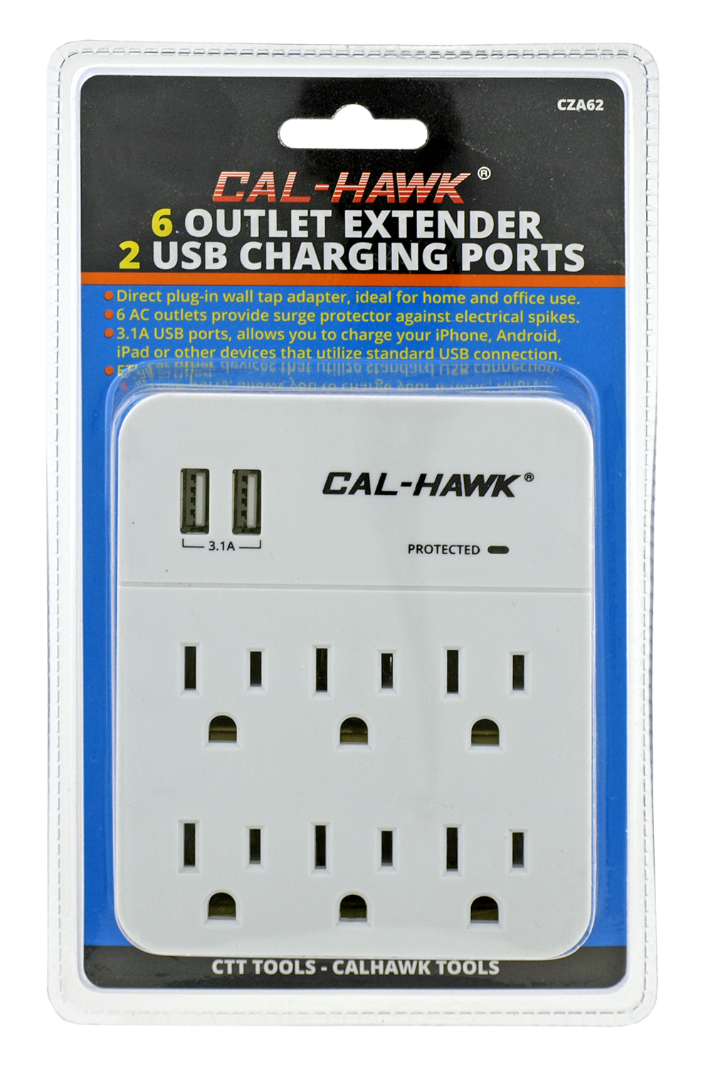 Cal Hawk 6 Outlet Extender with 2 USB Cell Phone Charging Ports