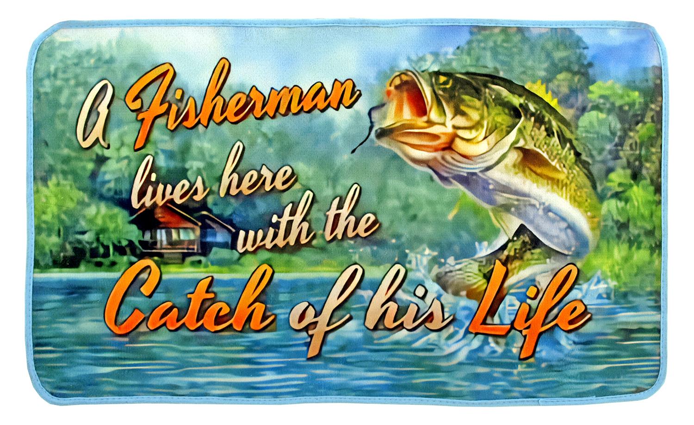 Fisherman Lives Here Welcome Door Mat