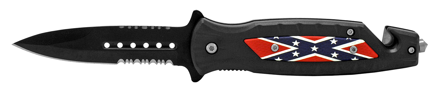 4.75 in Ultimate Survival Folding Pocket Knife - Confederate Flag