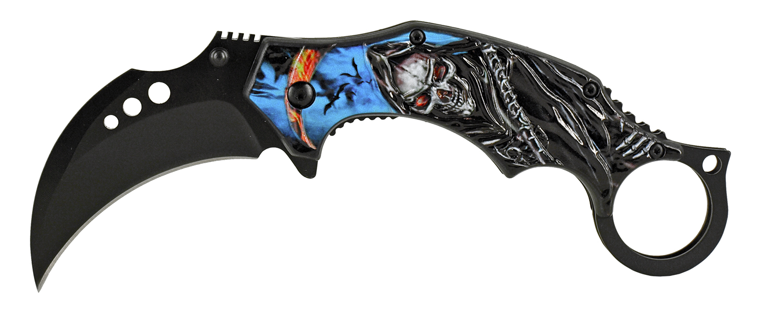 5.13 in Reaper Sickle Karambit Folding Pocket Knife - Blue Reaper