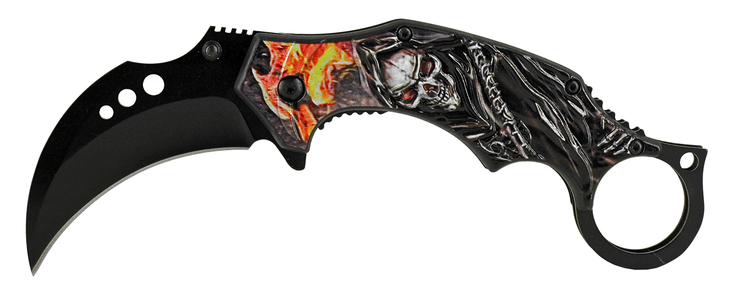 5.13 in Reaper Sickle Karambit Folding Pocket Knife - Flame Stalker