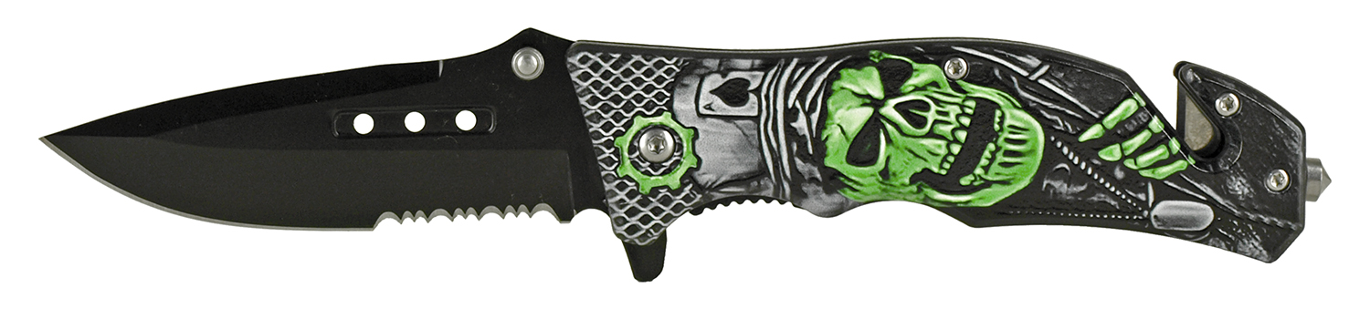 4.75 in Tactical Rescue Folding Pocket Knife - Ace of Skulls