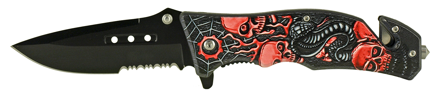 4.75 in Tactical Rescue Folding Pocket Knife - Snake, Skull, Spider