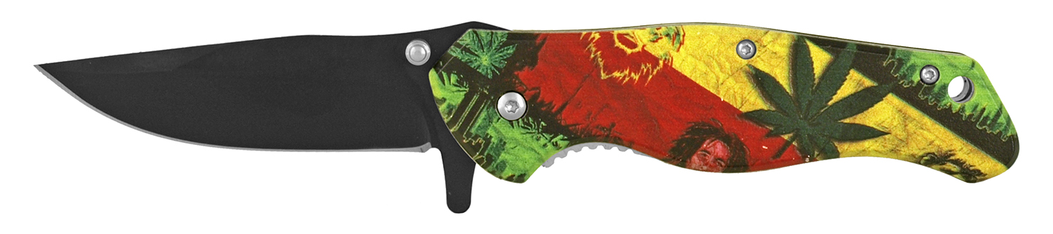 4.75 in Quick Access Folding Pocket Knife - Bob Marley and Mary Jane