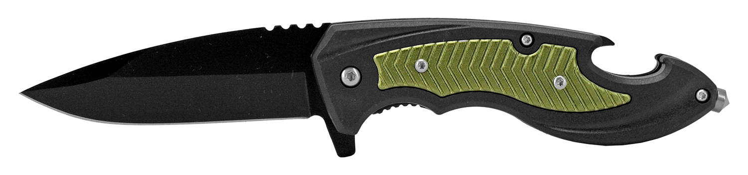 4.75 in Spec Ops Tactical Rescue Folding Pocket Knife - Green