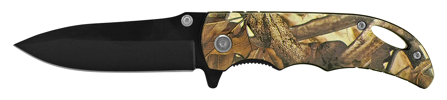 4 in Folding Pocket Knife with Belt Clip - Autumn Woodland Camo