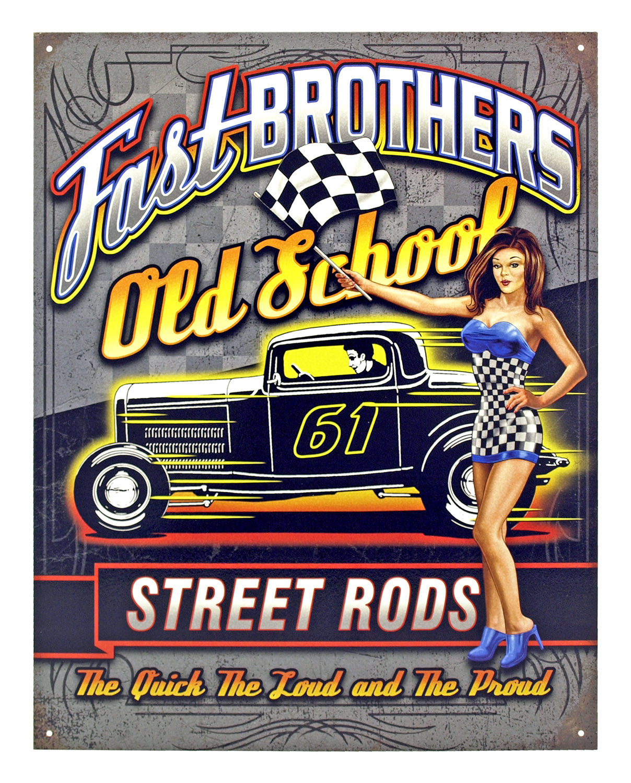 Old School Street Rods - Tin Sign