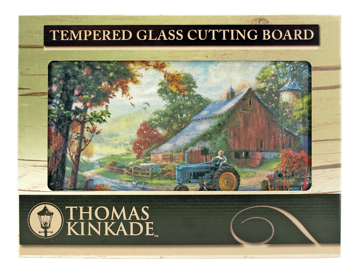 16 in x 12 in Thomas Kinkade Tempered Glass Cutting Board - Summer Heritage