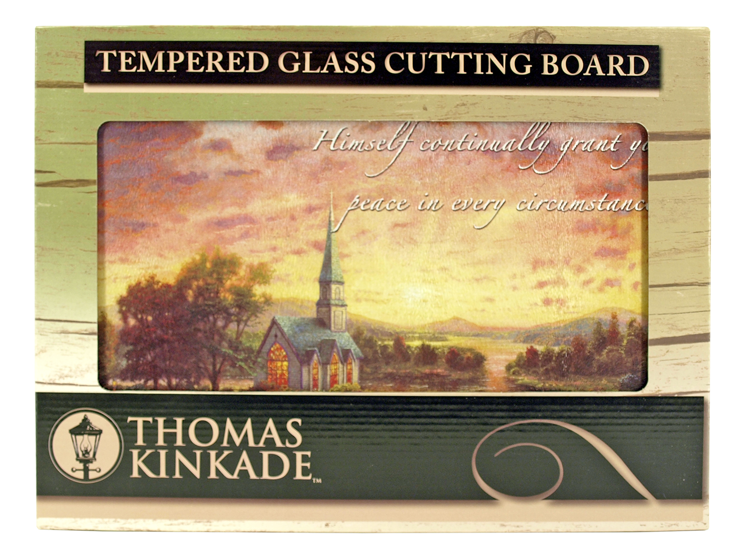 16 in x 12 in Thomas Kinkade Tempered Glass Cutting Board - Sunrise Chapel