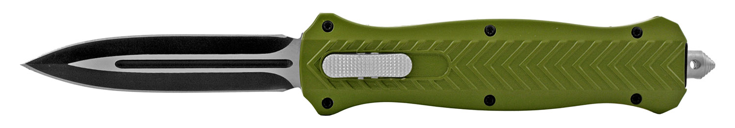5.63 in Stainless Steel Automatic Out the Front OTF Folding Pocket Knife - Olive Army Green