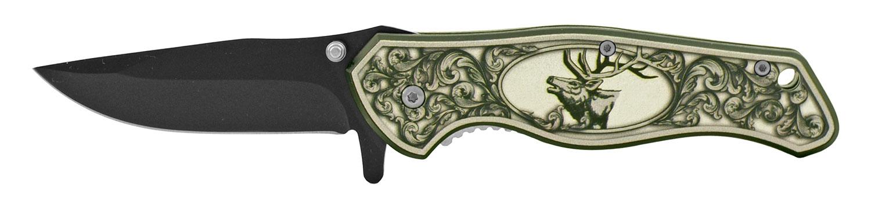 4.75 in Spring Assisted Classic Folding Pocket Knife - Deer