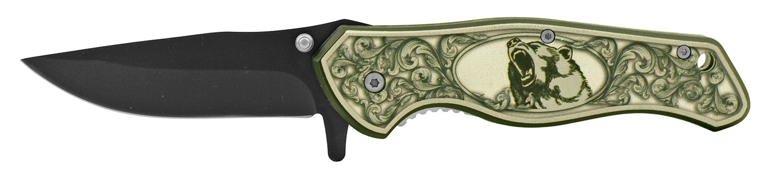 4.75 in Spring Assisted Classic Folding Pocket Knife - Bear
