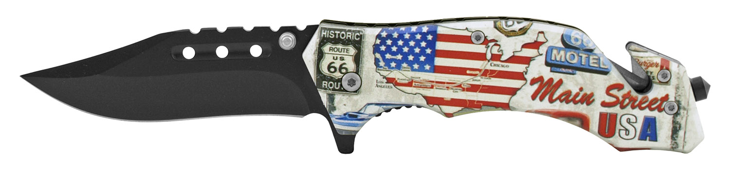 4.63 in Spring Assisted American Heritage Rescue Folding Pocket Knife - Historic Route 66