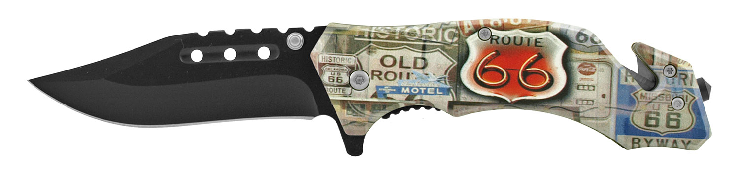 4.63 in Spring Assisted American Heritage Rescue Folding Pocket Knife - Classic Route 66