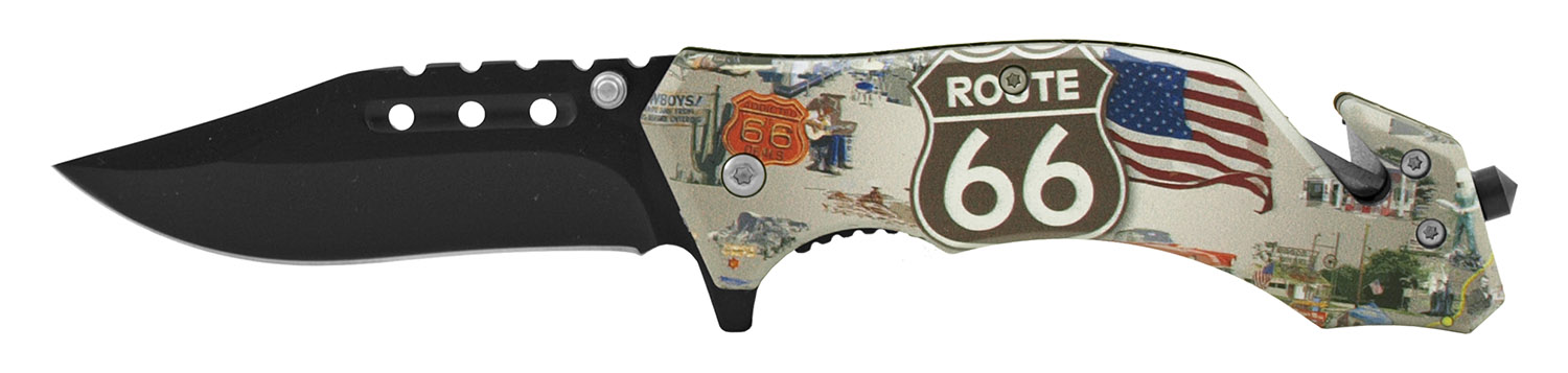 4.63 in Spring Assisted American Heritage Rescue Folding Pocket Knife - Route 66 Tradition
