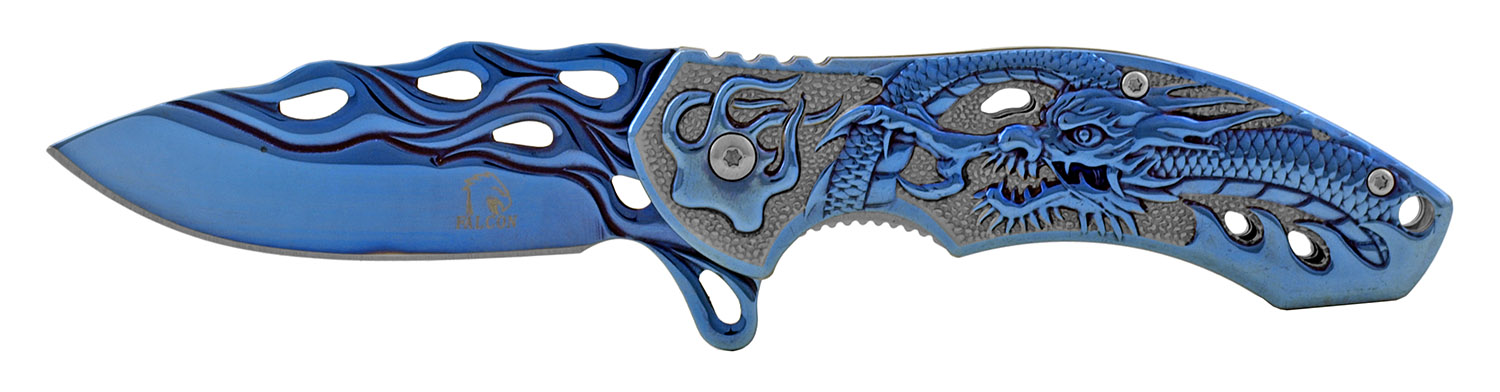 4.5 in Heavy Stainless Steel Classic Folding Pocket Knife - Blue