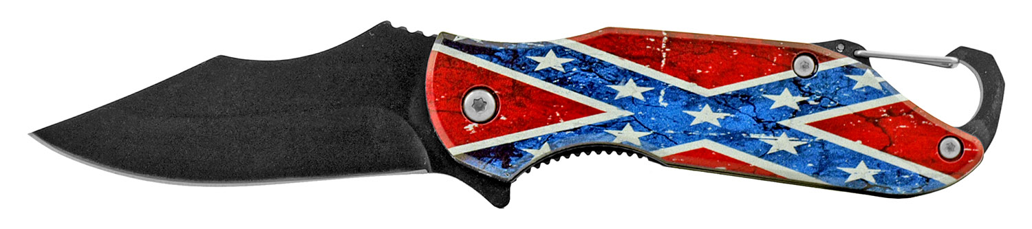 4 in Traditional Spring Assisted Folding Pocket Knife with Key Chain Carabiner Clip - Confederate Flag