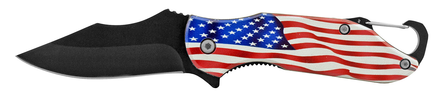 4 in Traditional Spring Assisted Folding Pocket Knife with Key Chain Carabiner Clip - United States Flag