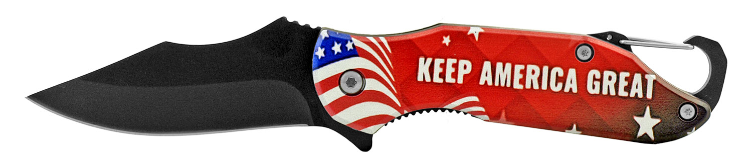 4 in Traditional Spring Assisted Folding Pocket Knife with Key Chain Carabiner Clip - Keep America Great Trump