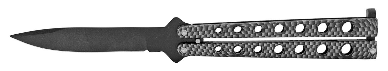 4.88 in Stainless Steel Butterfly Bailsong Flip Open Folding Pocket Knife - Carbon Fiber