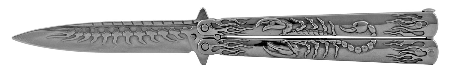 5.25 in Heavy Duty Scorpion Stainless Steel Butterfly Bailsong Folding Pocket Knife - Chrome