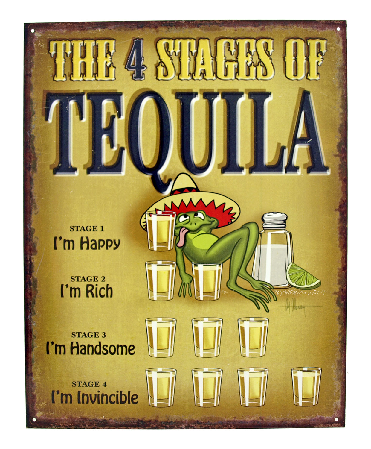 The Four Stages of Tequlia Liqour Metal Tin Sign