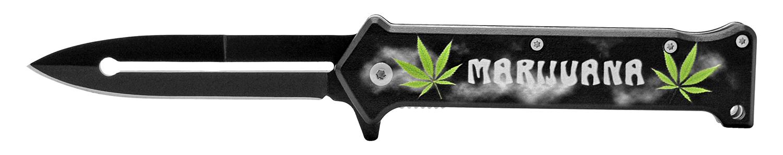 4.63 in Stiletto Folding Knife - Green Leaf