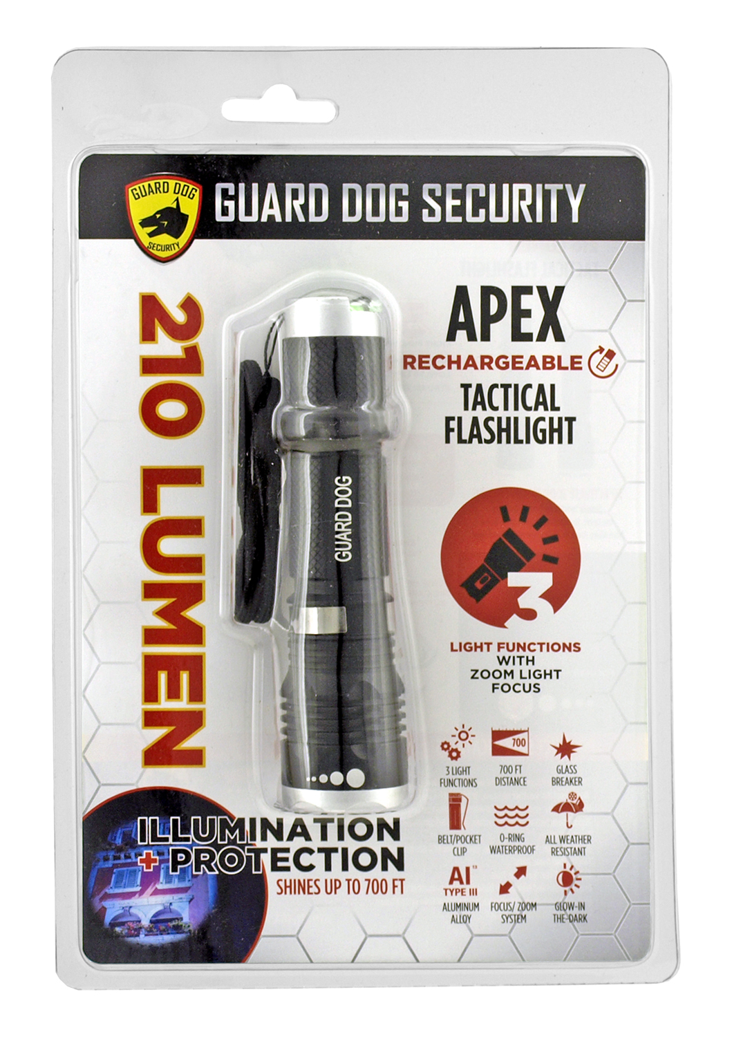 210 Lumen Apex Rechargeable Tactical Flashlight - Guard Dog Security