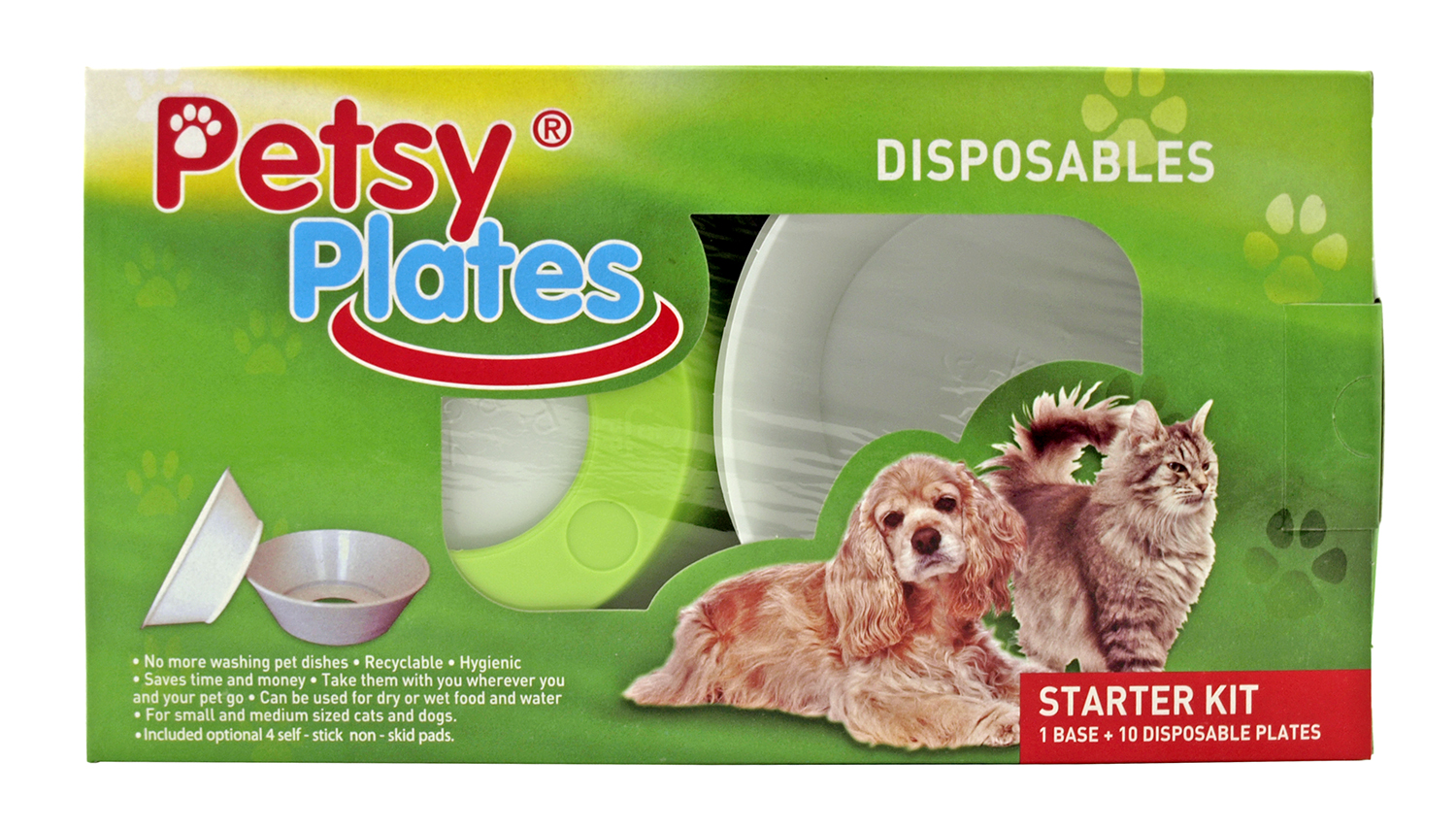 Petsy Plates Disposable Cat or Dog Food and Water Dishes with Bowl Base