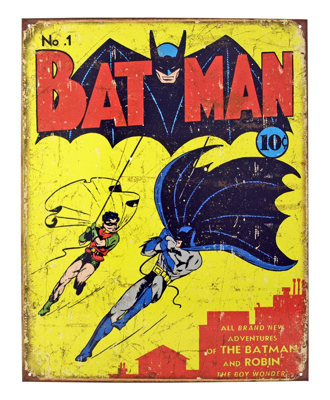 Batman Issue #1 Metal Tin Sign - Vintage 1940 DC Comics Batman and Robin First Appearance