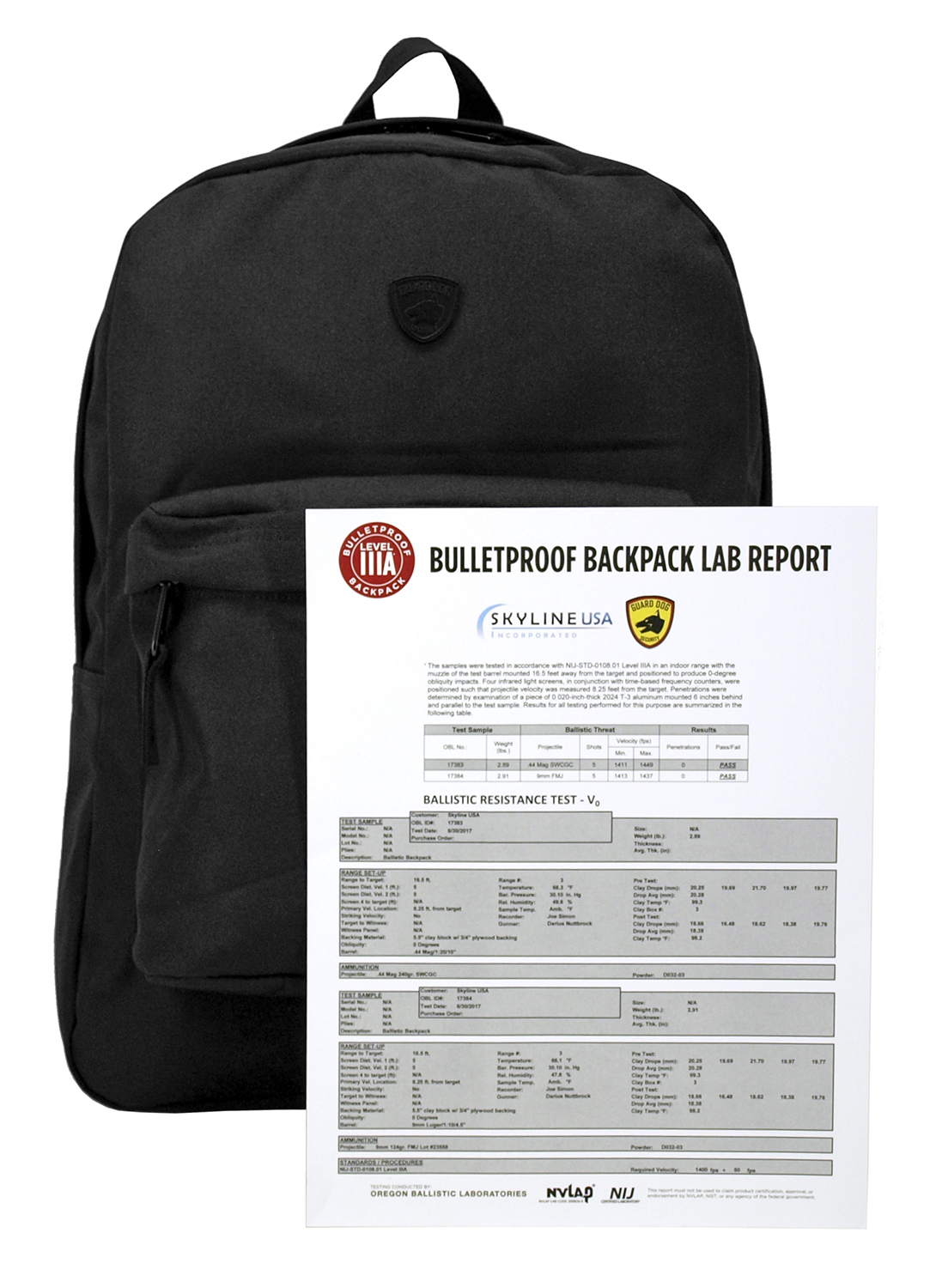 Guard Dog Level IIIA Bulletproof Backpack - Black